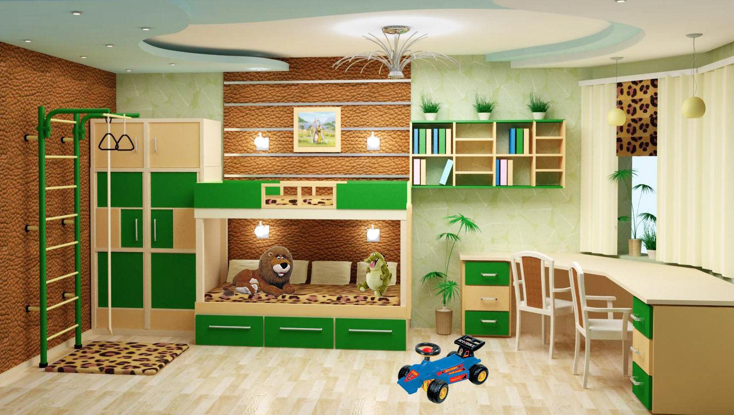 Дизайн интерьер детской комнаты для двоих детей